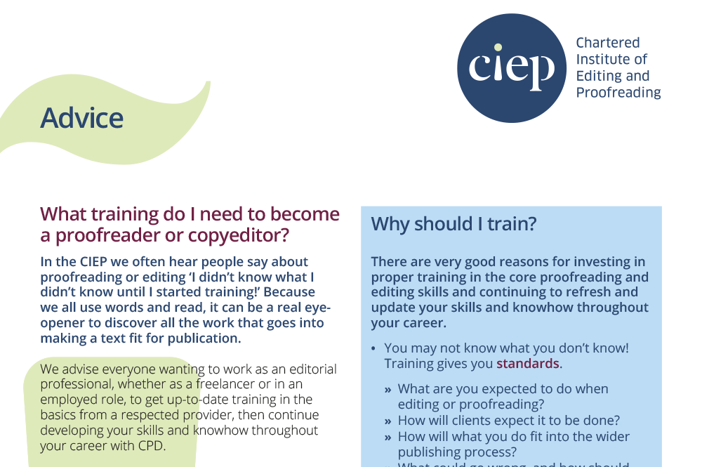 CIEP advice sheet: Training for copyediting or proofreading