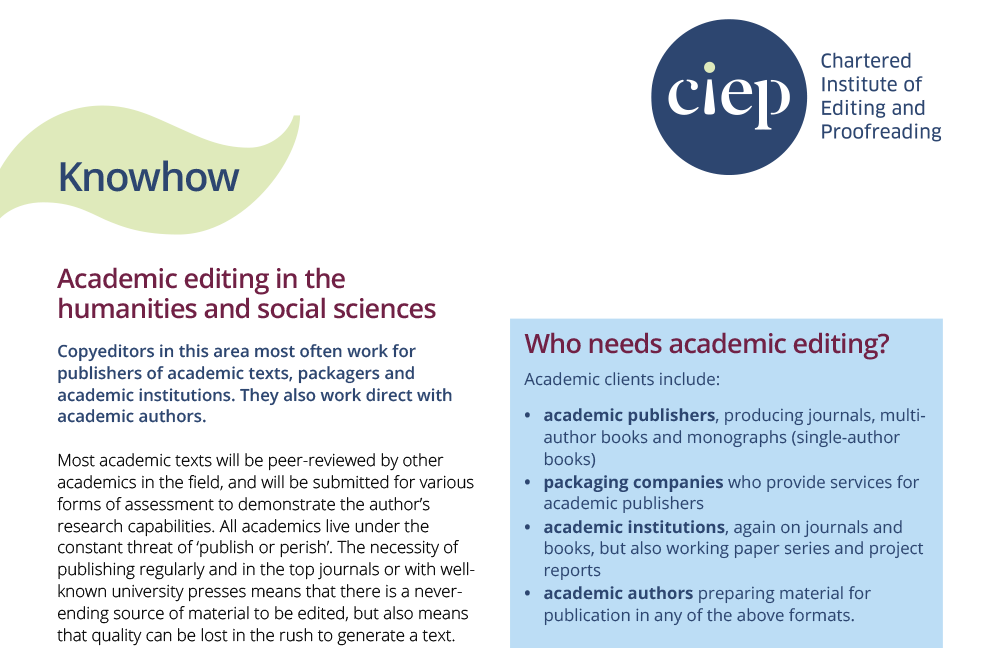 CIEP factsheet: Academic editing