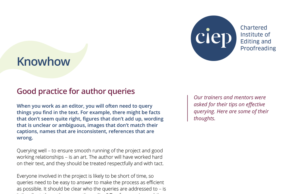 CIEP factsheet: Good practice for author queries