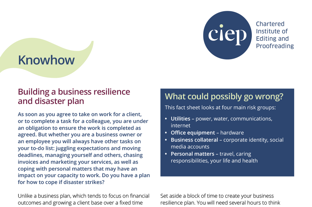 CIEP factsheet: Building a business resilience plan