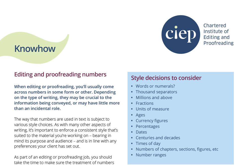CIEP factsheet: Editing and proofreading numbers