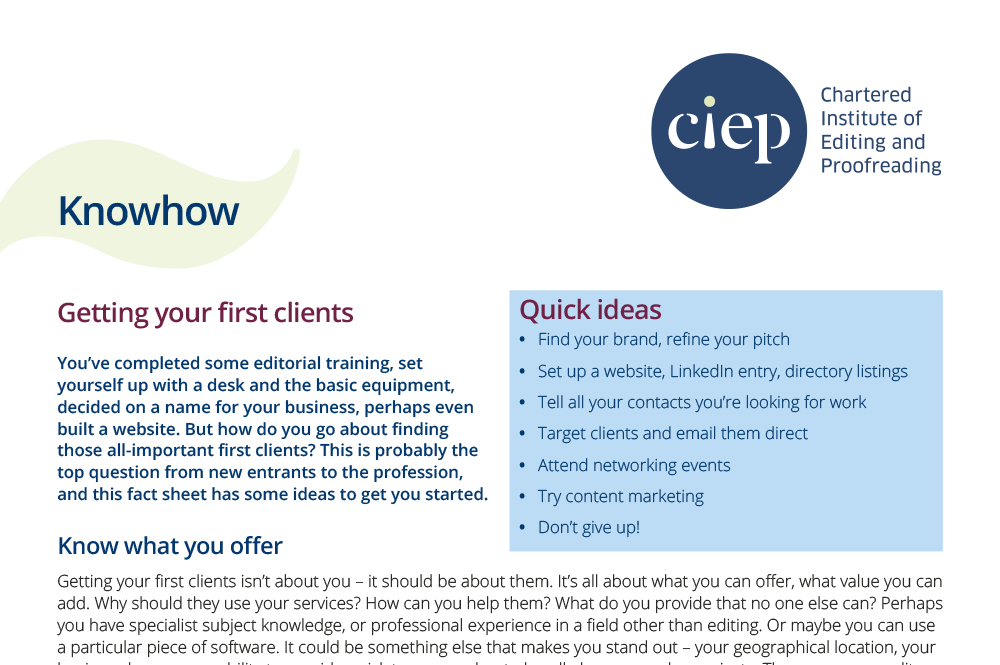 CIEP factsheet: Getting your first clients