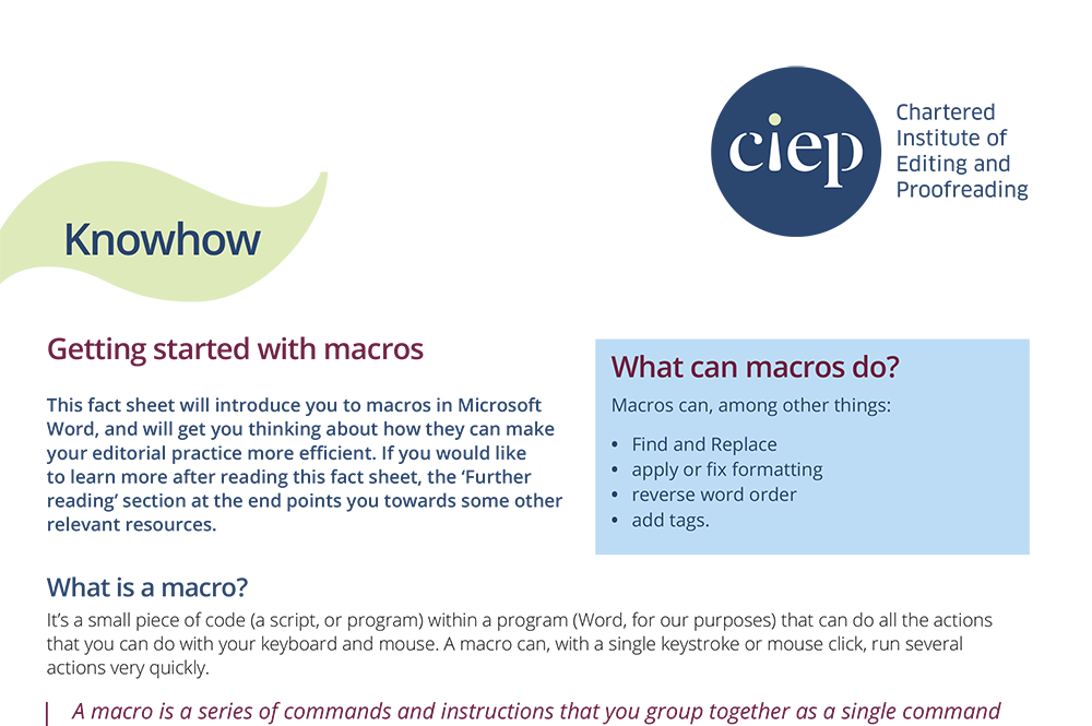 CIEP factsheet: Getting started with macros