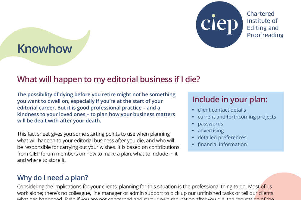 CIEP factsheet: What will happen to my editorial business if I die?