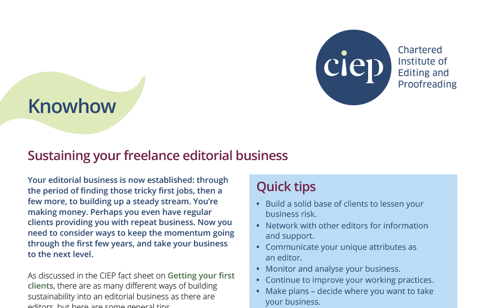 CIEP factsheet: Sustaining your freelance editorial business