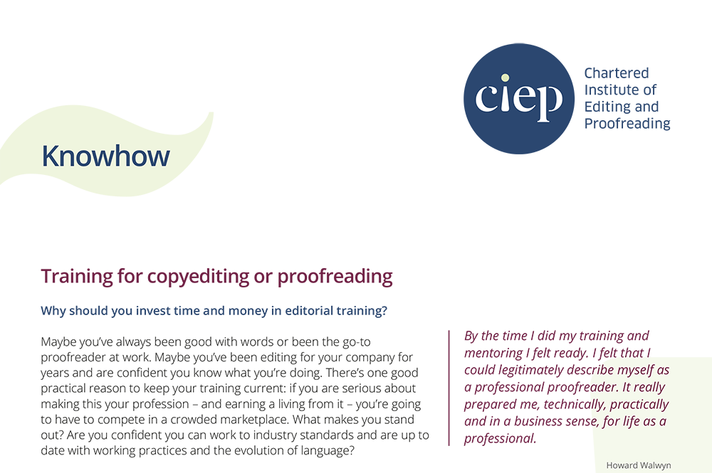 CIEP factsheet: Training for copy-editing or proofreading