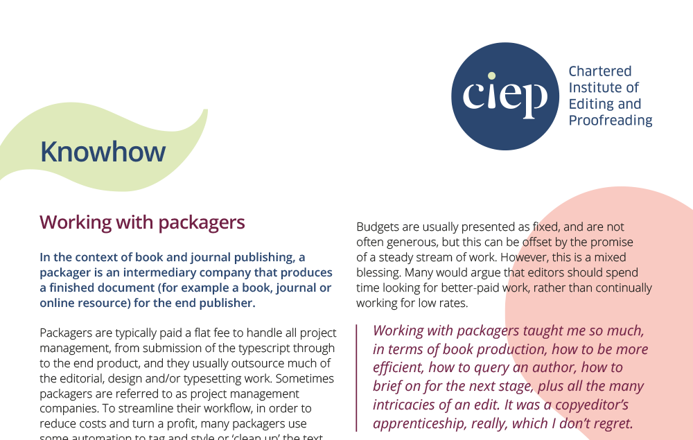 CIEP factsheet: Working with packagers