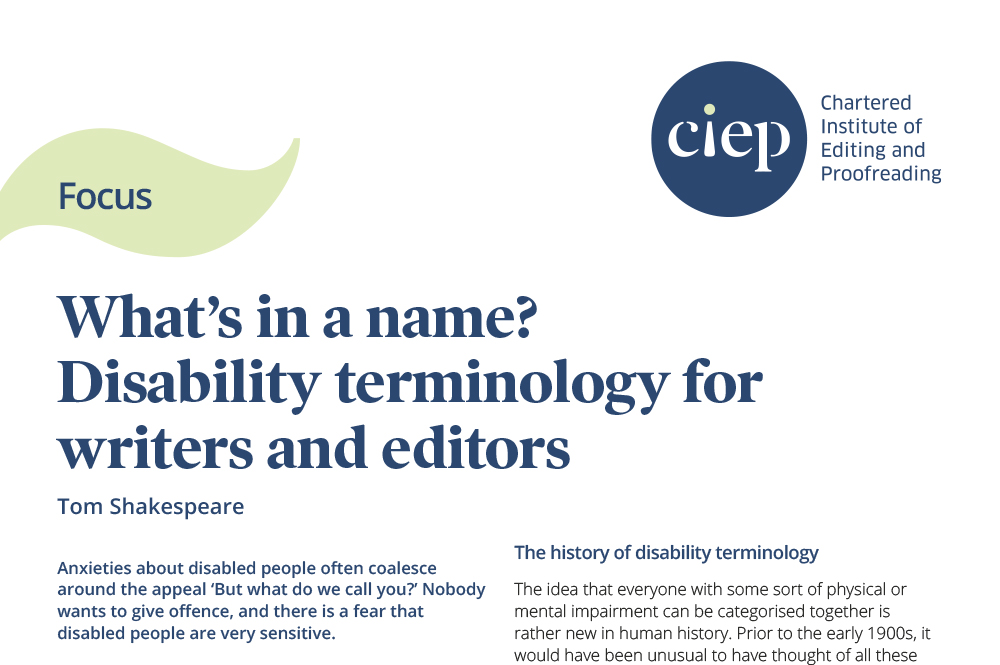 CIEP focus paper: Disability terminology for writers and editors