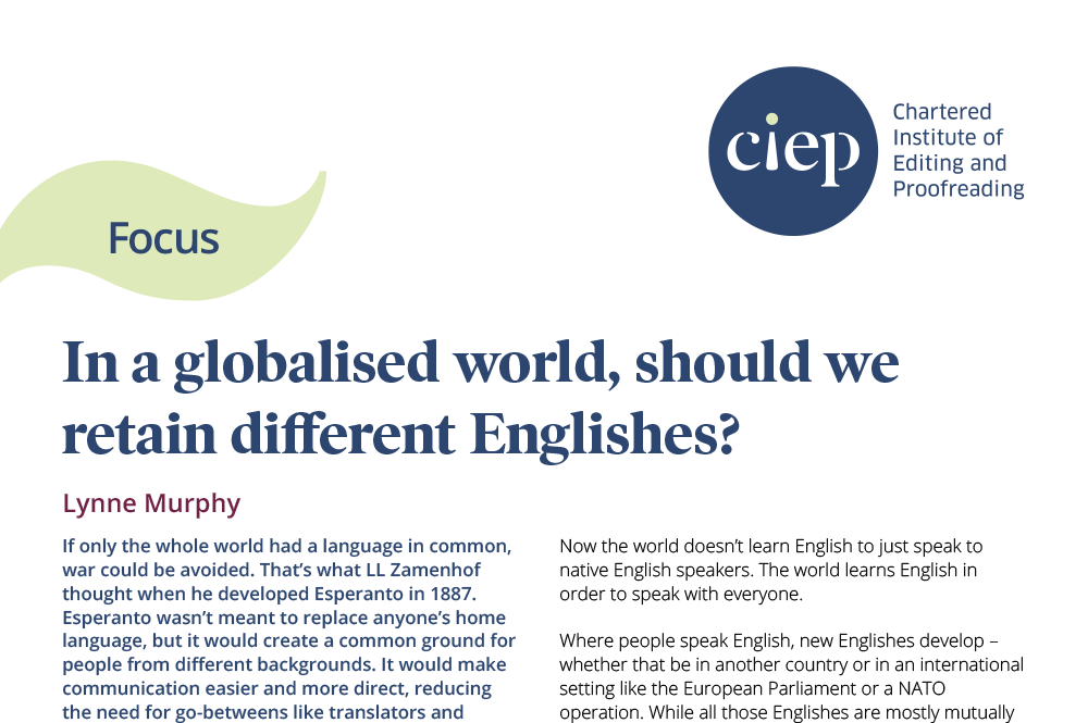 CIEP focus paper: In a globalised world, should we retain different Englishes?