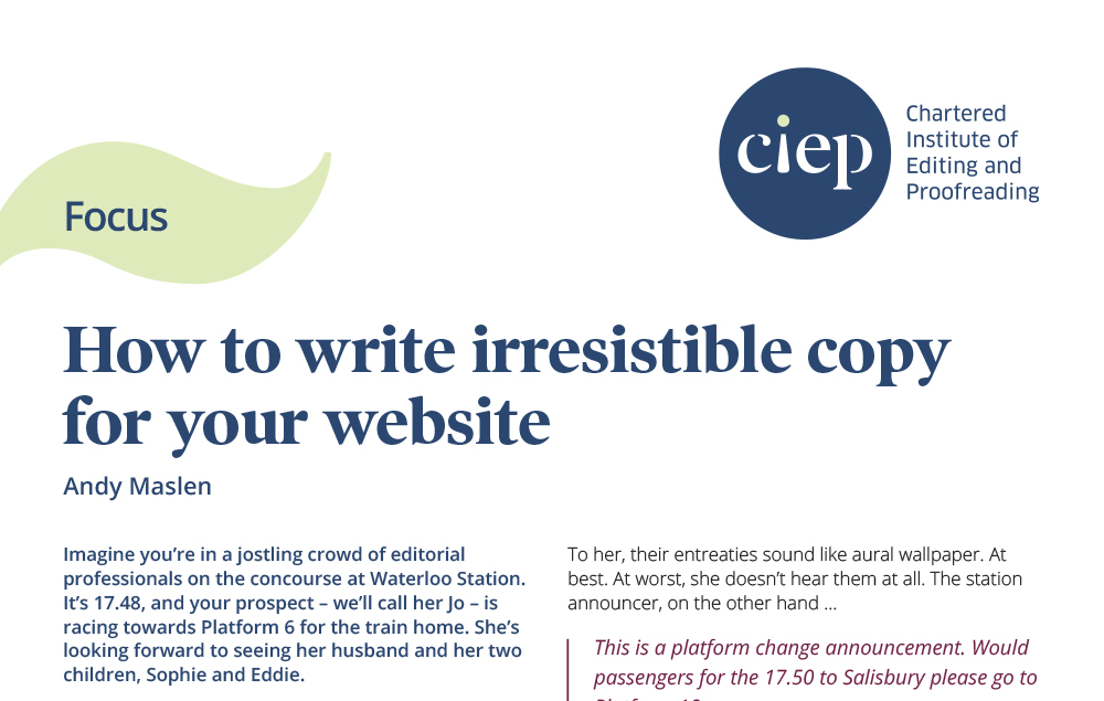 CIEP focus paper: How to write irresistible copy for your website