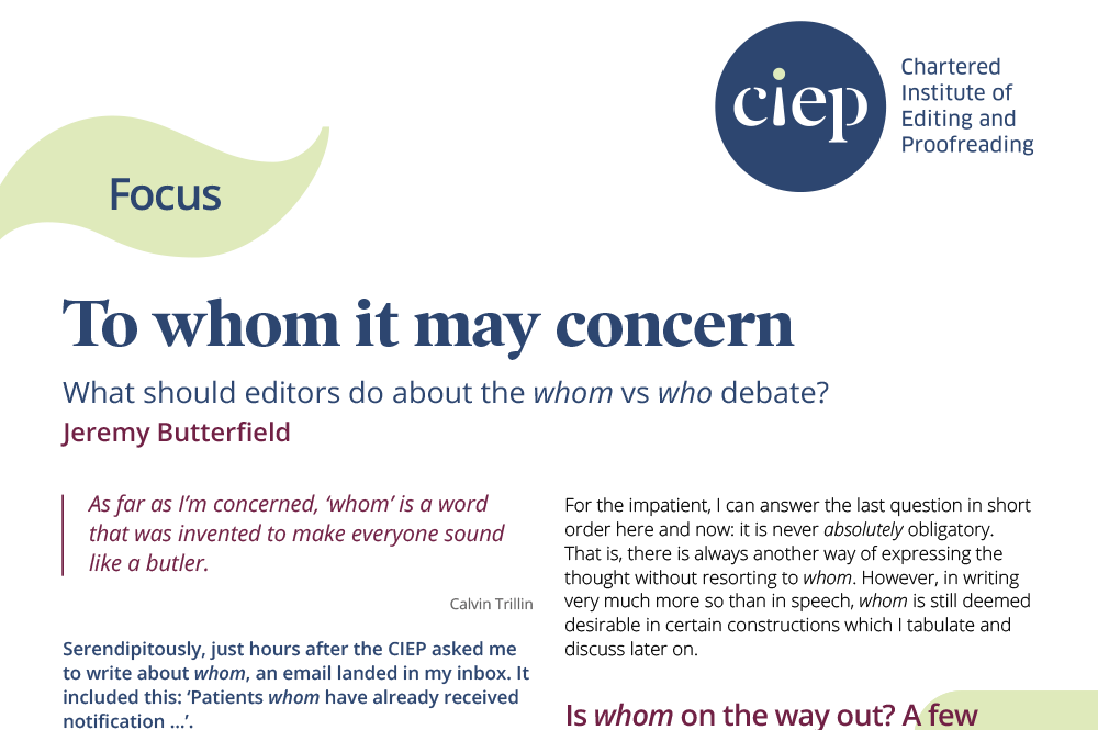 CIEP focus paper: To whom it may concern