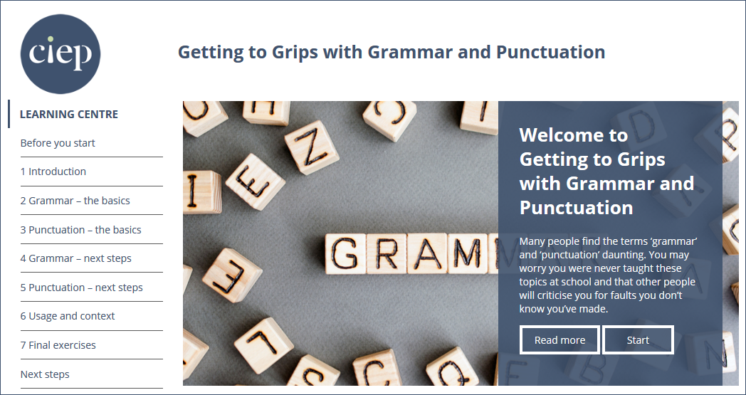 Getting to Grips with Grammar and Punctuation course page