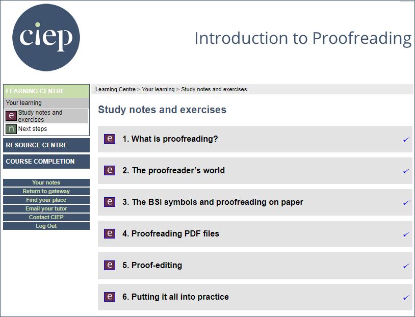 Online proofreading course workshops