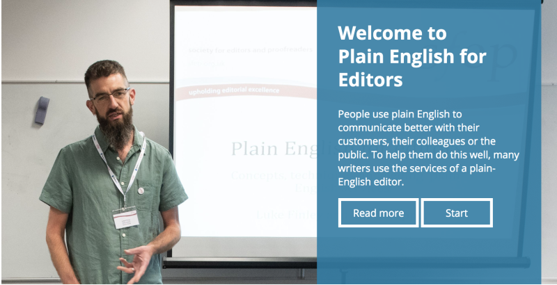 Plain English for Editors course page