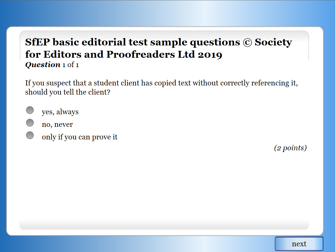 Sample test question 1