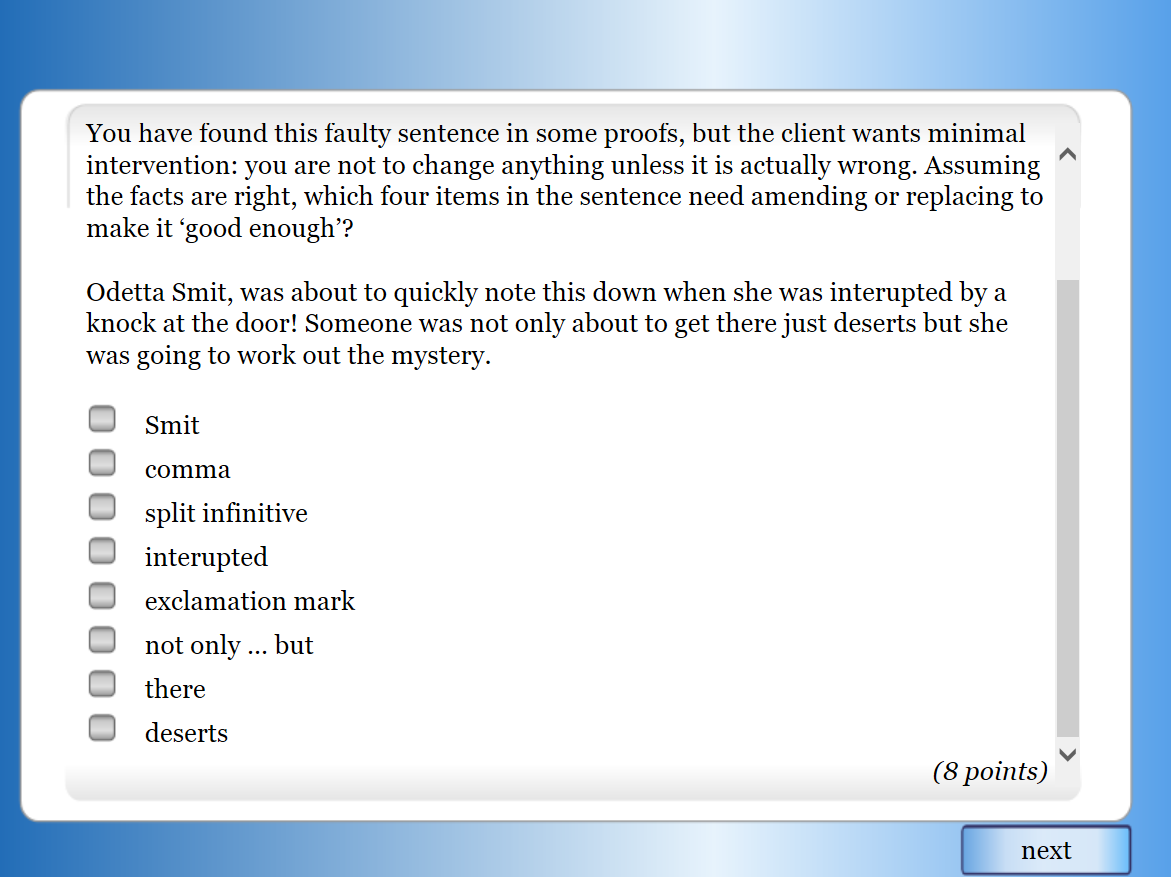 Sample test question 3