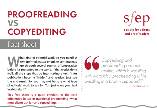 SfEP factsheet: Proofreading vs copy-editing