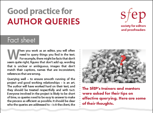 SfEP factsheet: Good practice for author queries