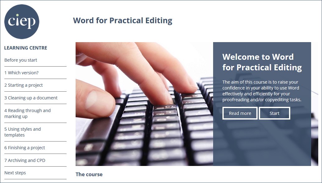Word for Practical Editing course page