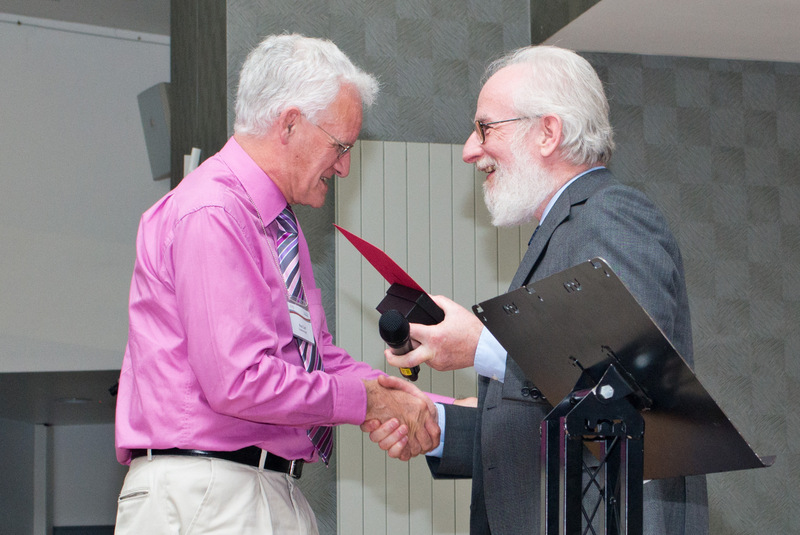 A slightly stunned Rod Cuff receives the SfEP's JBA from David Crystal