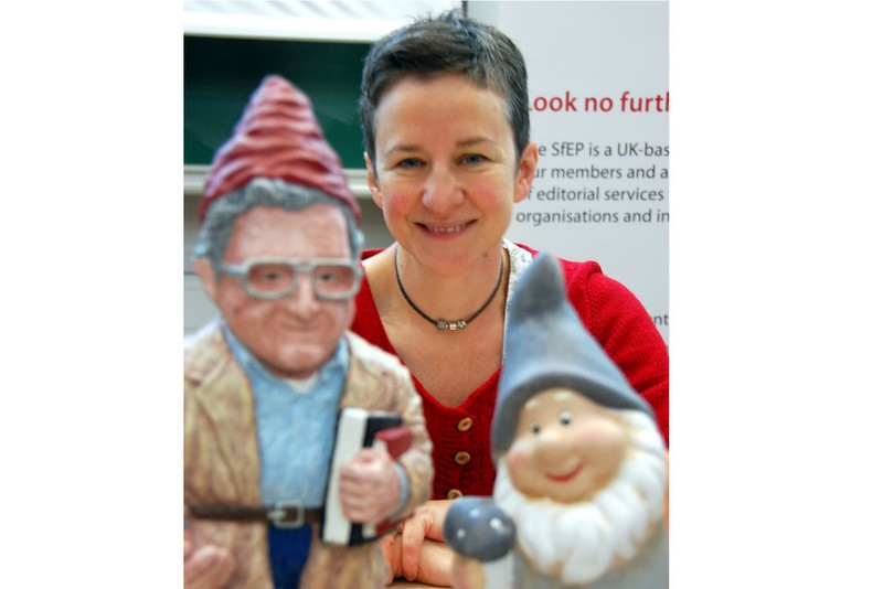 At the SfEP AGM, out-going chair Sara Peacock is presented with not one, but two, gnomes