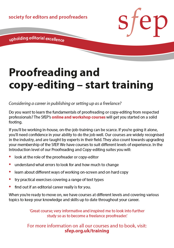 Proofreading and copy-editing start training