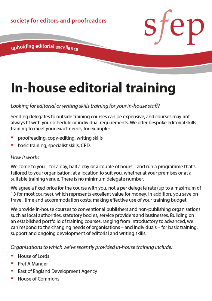 In-house editorial training